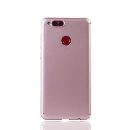 Huawei Honor 7X Handy-Hülle Schutz-Case Full-Cover Panzer Schutz Glas Rose – Bild 2