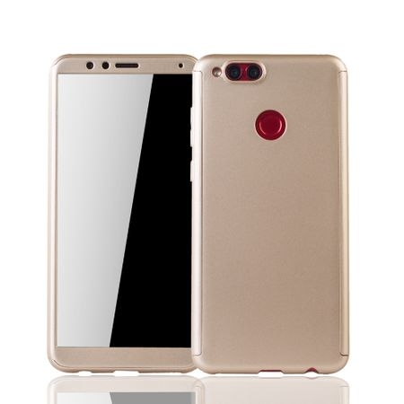 Huawei Honor 7X Handy-Hülle Schutz-Case Full-Cover Panzer Schutz Glas Gold