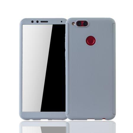 Huawei Honor 7X Handy-Hülle Schutz-Case Full-Cover Panzer Schutz Glas Grau