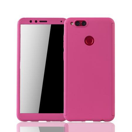 Huawei Honor 7X Handy-Hülle Schutz-Case Full-Cover Panzer Schutz Glas Pink