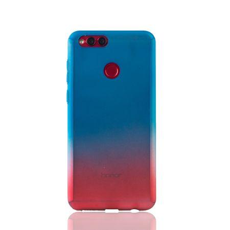 Huawei Honor 7X Handy-Hülle Schutz-Case Full-Cover Panzer Schutz Glas Blau / Rot – Bild 2