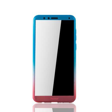 Huawei Honor 7X Handy-Hülle Schutz-Case Full-Cover Panzer Schutz Glas Blau / Rot – Bild 3