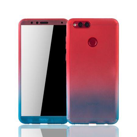 Huawei Honor 7X Handy-Hülle Schutz-Case Full-Cover Panzer Schutz Glas Rot / Blau