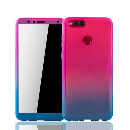Huawei Honor 7X Handy-Hülle Schutz-Case Fullcover Panzer Schutz Glas Pink / Blau