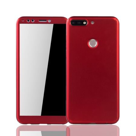 Huawei Honor 7C Handy-Hülle Schutz-Case Full-Cover Panzer Schutz Glas Rot