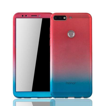 Huawei Honor 7C Handy-Hülle Schutz-Case Full-Cover Panzer Schutz Glas Rot / Blau