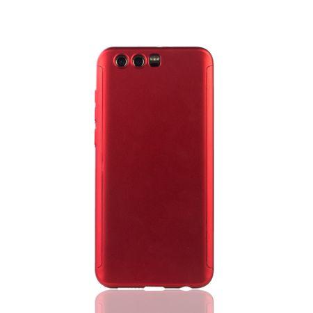 Huawei Honor 9 Handy-Hülle Schutz-Case Full-Cover Panzer Schutz Glas Rot – Bild 2