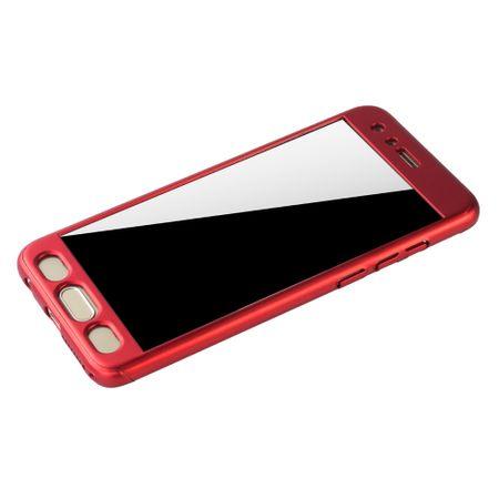 Huawei Honor 9 Handy-Hülle Schutz-Case Full-Cover Panzer Schutz Glas Rot – Bild 4