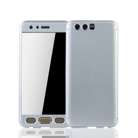 Huawei Honor 9 Handy-Hülle Schutz-Case Full-Cover Panzer Schutz Glas Silber
