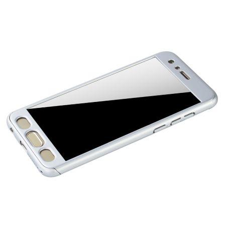 Huawei Honor 9 Handy-Hülle Schutz-Case Full-Cover Panzer Schutz Glas Silber – Bild 4