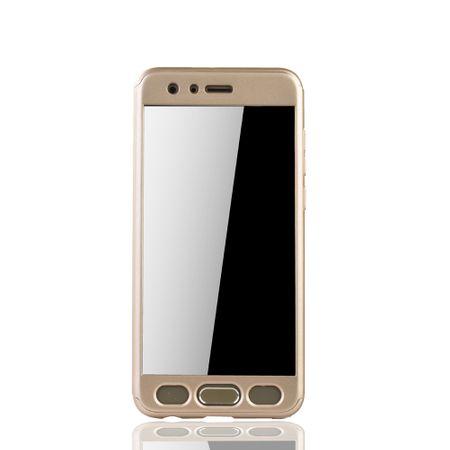Huawei Honor 9 Handy-Hülle Schutz-Case Full-Cover Panzer Schutz Glas Gold – Bild 3