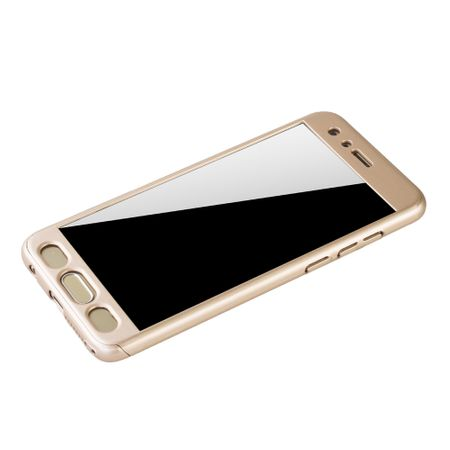 Huawei Honor 9 Handy-Hülle Schutz-Case Full-Cover Panzer Schutz Glas Gold – Bild 4