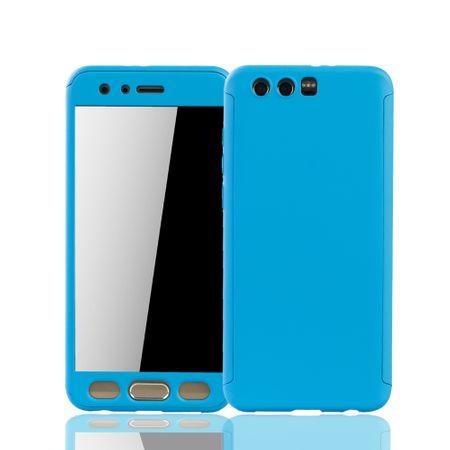 Huawei Honor 9 Handy-Hülle Schutz-Case Full-Cover Panzer Schutz Glas Hellblau