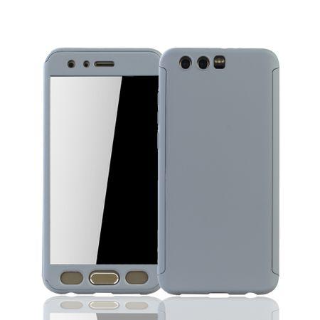 Huawei Honor 9 Handy-Hülle Schutz-Case Full-Cover Panzer Schutz Glas Grau – Bild 1
