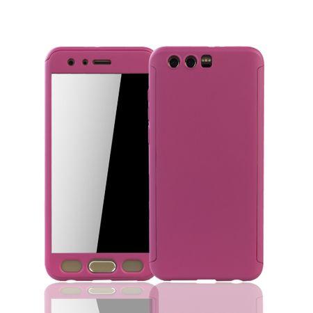 Huawei Honor 9 Handy-Hülle Schutz-Case Full-Cover Panzer Schutz Glas Pink – Bild 1