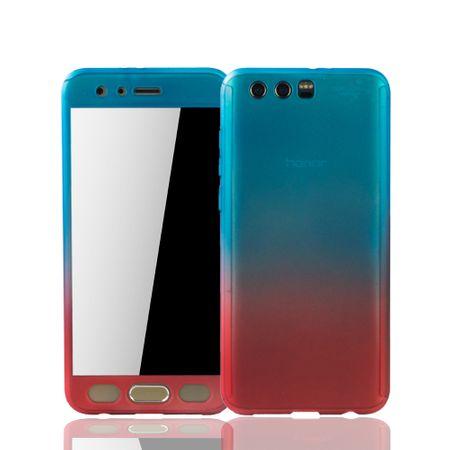 Huawei Honor 9 Handy-Hülle Schutz-Case Full-Cover Panzer Schutz Glas Blau / Rot