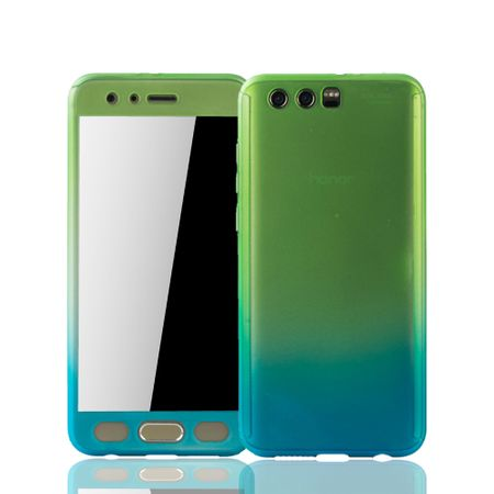 Huawei Honor 9 Handy-Hülle Schutz-Case Full-Cover Panzer Schutz Glas Grün / Blau