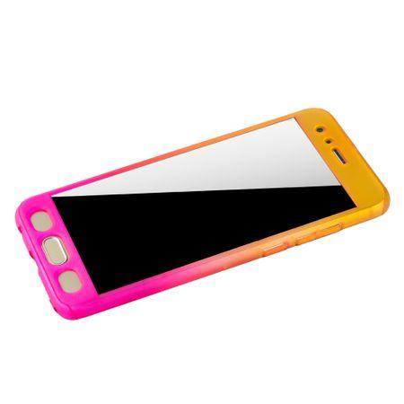 Huawei Honor 9 Handy-Hülle Schutz-Case Full-Cover Panzer Schutz Glas Gelb / Pink – Bild 4