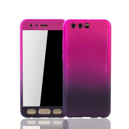 Huawei Honor 9 Handy-Hülle Schutz-Case Cover Panzer Schutz Glas Pink / Violett