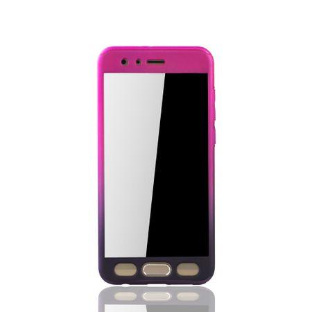 Huawei Honor 9 Handy-Hülle Schutz-Case Cover Panzer Schutz Glas Pink / Violett – Bild 3