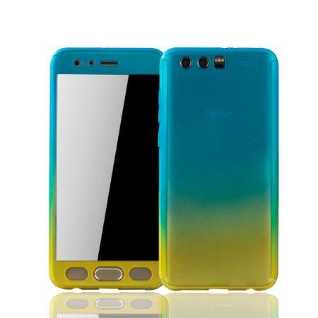 Huawei Honor 9 Handy-Hülle Schutz-Case Full-Cover Panzer Schutz Glas Blau / Gelb