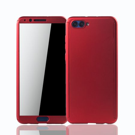 Huawei Honor View 10 Handy-Hülle Schutz-Case Full-Cover Panzer Schutz Glas Rot