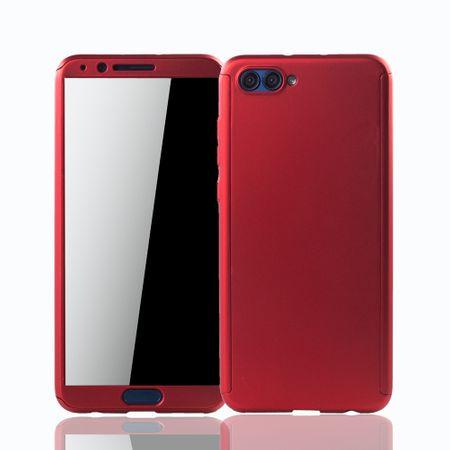Huawei Honor View 10 Handy-Hülle Schutz-Case Full-Cover Panzer Schutz Glas Rot – Bild 1