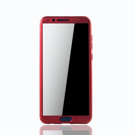 Huawei Honor View 10 Handy-Hülle Schutz-Case Full-Cover Panzer Schutz Glas Rot – Bild 3