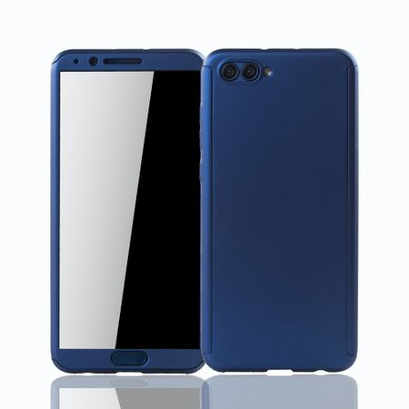 Huawei Honor View 10 Handy-Hülle Schutz-Case Full-Cover Panzer Schutz Glas Blau