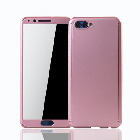 Huawei Honor View 10 Handy-Hülle Schutz-Case Full-Cover Panzer Schutz Glas Rose