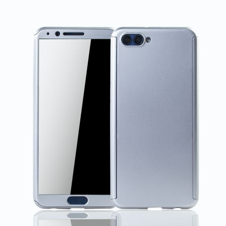 Huawei Honor View 10 Handy-Hülle Schutz-Case Full-Cover Panzer Schutz Glas Silber