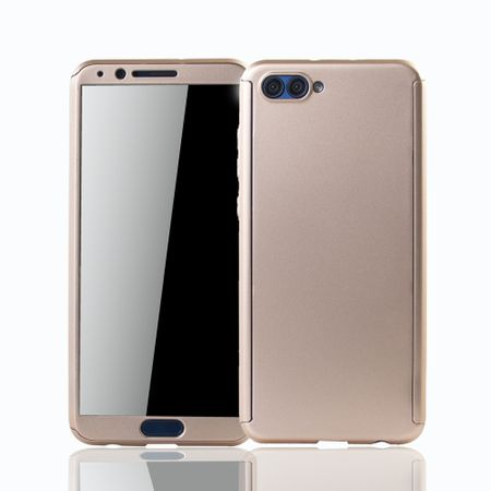 Huawei Honor View 10 Handy-Hülle Schutz-Case Full-Cover Panzer Schutz Glas Gold