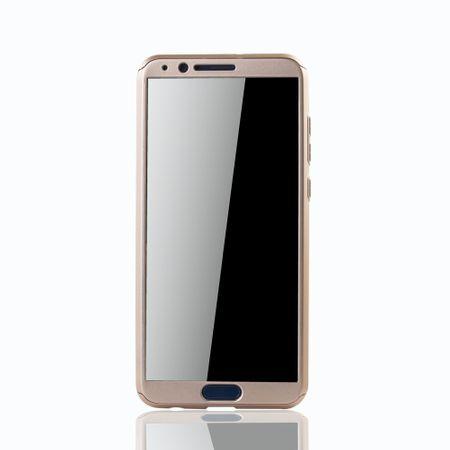Huawei Honor View 10 Handy-Hülle Schutz-Case Full-Cover Panzer Schutz Glas Gold – Bild 3