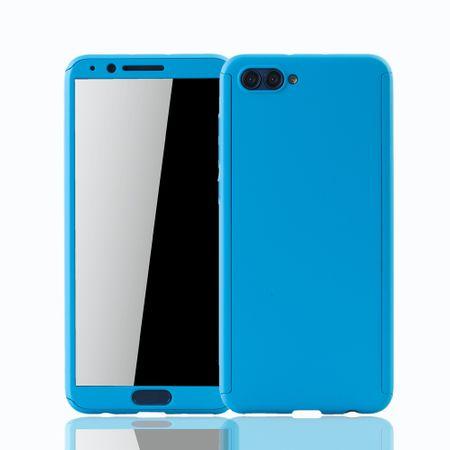 Huawei Honor View 10 Handy-Hülle Schutz-Case Full-Cover Panzer Schutz Glas Hellblau