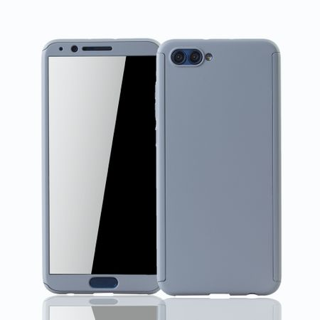 Huawei Honor View 10 Handy-Hülle Schutz-Case Full-Cover Panzer Schutz Glas Grau