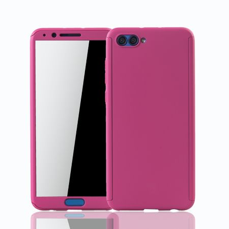 Huawei Honor View 10 Handy-Hülle Schutz-Case Full-Cover Panzer Schutz Glas Pink