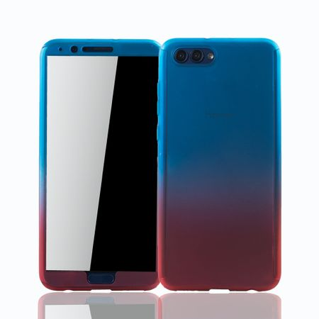 Huawei Honor View 10 Handy-Hülle Schutz-Case Fullcover Panzer Schutz Glas Blau / Rot