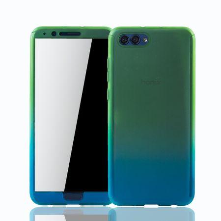 Huawei Honor View 10 Handy-Hülle Schutz-Case Cover Panzer Schutz Glas Grün / Blau