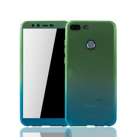 Huawei Honor 9 Lite Handy-Hülle Schutz-Case Cover Panzer Schutz Glas Grün / Blau