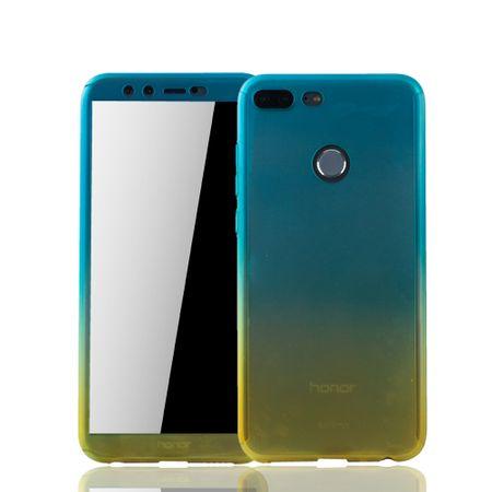 Huawei Honor 9 Lite Handy-Hülle Schutz-Case Cover Panzer Schutz Glas Blau / Gelb