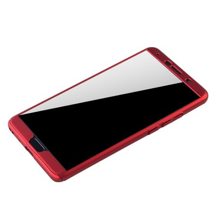 Huawei Mate 10 Handy-Hülle Schutz-Case Full-Cover Panzer Schutz Glas Rot – Bild 4