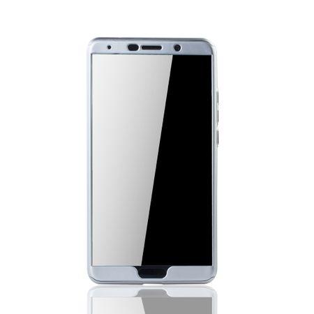 Huawei Mate 10 Handy-Hülle Schutz-Case Full-Cover Panzer Schutz Glas Silber – Bild 3