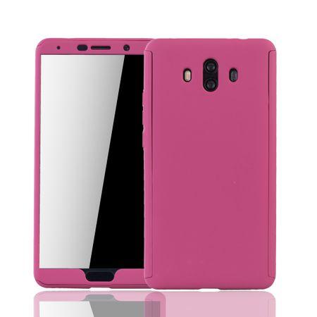 Huawei Mate 10 Handy-Hülle Schutz-Case Full-Cover Panzer Schutz Glas Pink
