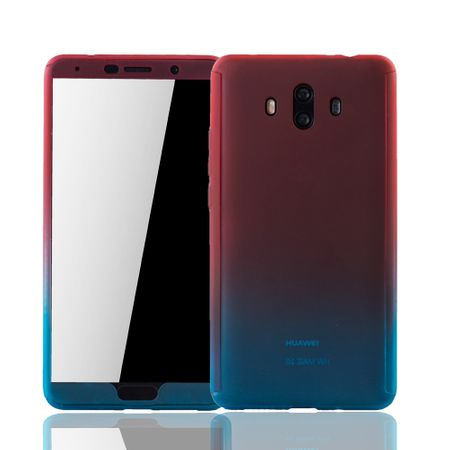 Huawei Mate 10 Handy-Hülle Schutz-Case Full-Cover Panzer Schutz Glas Rot / Blau