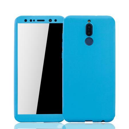 Huawei Mate 10 Lite Handy-Hülle Schutz-Case Cover Panzer Schutz Glas Hellblau