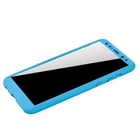 Huawei Mate 10 Lite Handy-Hülle Schutz-Case Cover Panzer Schutz Glas Hellblau – Bild 4