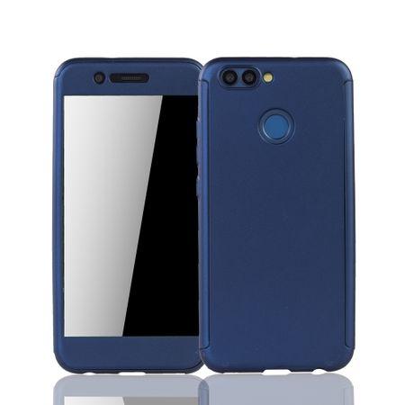 Huawei Nova 2 Handy-Hülle Schutz-Case Full-Cover Panzer Schutz Glas Blau