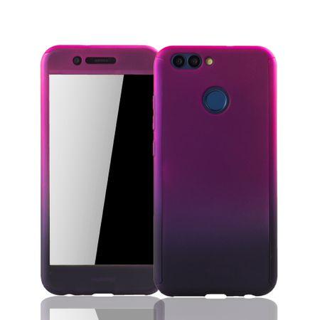 Huawei Nova 2 Handy-Hülle Schutz-Case Cover Panzer Schutz Glas Pink / Violett