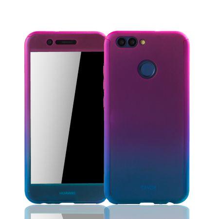 Huawei Nova 2 Handy-Hülle Schutz-Case Full-Cover Panzer Schutz Glas Pink / Blau