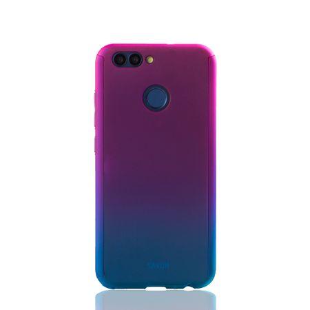 Huawei Nova 2 Handy-Hülle Schutz-Case Full-Cover Panzer Schutz Glas Pink / Blau – Bild 2